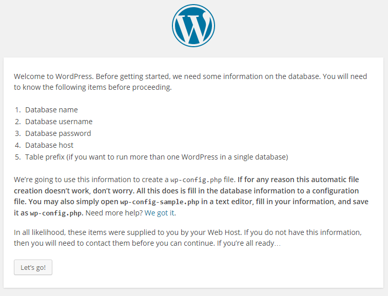 WordPress › Setup Configuration File