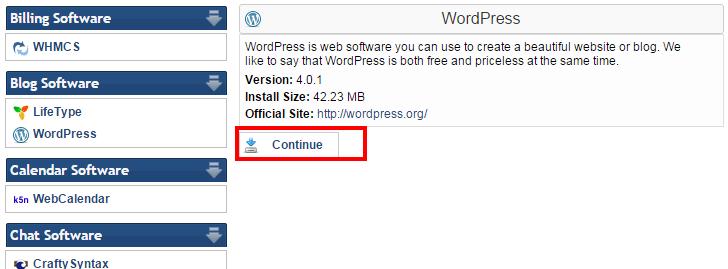 continue wordpress installation