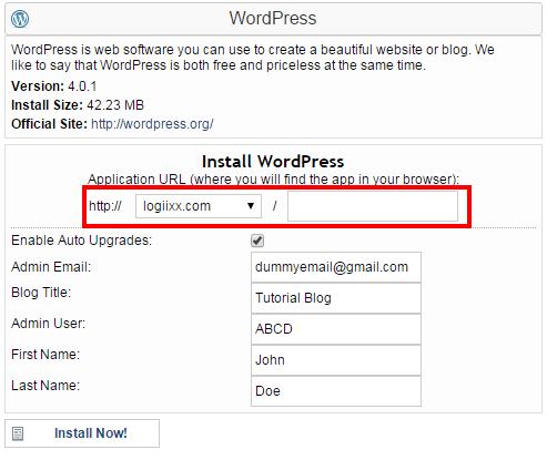 install wordpress details