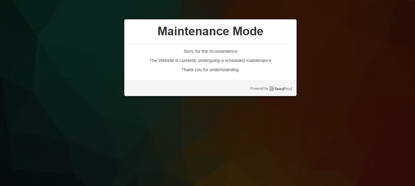 maintenance mode with background
