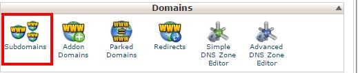 sub domain screen shot