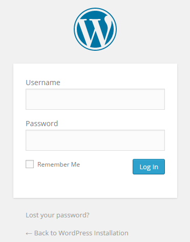 wordpress installation login page
