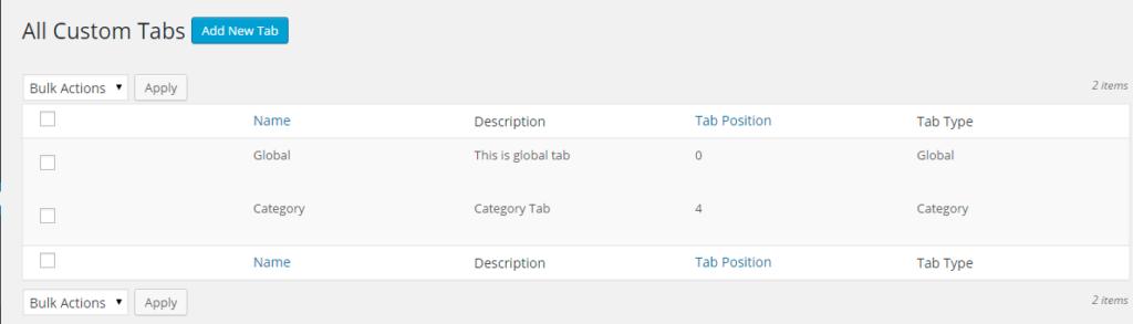 gloab tab option in woocommerce custom tabs plugin
